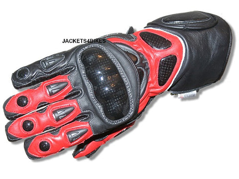 G66 NEW MOTORCYCLE GLOVES CARBON FIBER LEATHER RED
