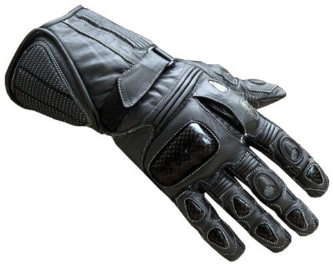 MOTORCYCLE GLOVES CARBON FIBER LEATHER BLACK G69