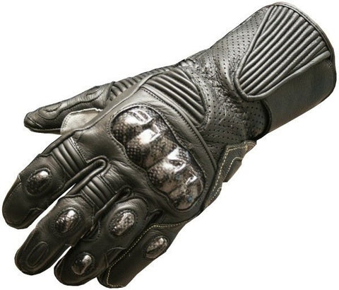 LG75 MOTORCYCLE GLOVES CARBON FIBER LEATHER BLACK