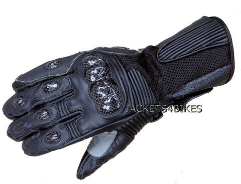 MESH MOTORCYCLE GLOVES CARBON FIBER LEATHER BLACK
