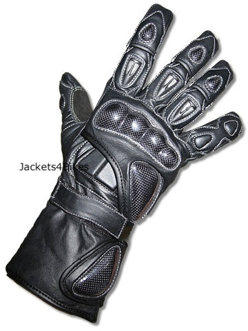 G76 MOTORCYCLE GLOVES CARBON FIBER LEATHER BLACK