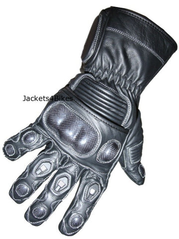 G78 BLACK LEATHER MOTORCYCLE CARBON FIBER GLOVES