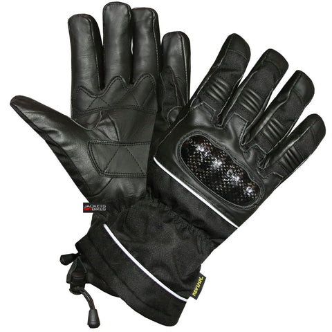 Motorcycle Leather Winter Gloves Thinsulate Carbon Fiber Waterproof
