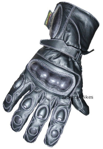 STUD PALM CARBON FIBER MOTORCYCLE LEATHER GLOVES