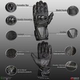 MOTOGLOVES RAZER RTL MOTORCYCLE GLOVES MADE OF LEATHER  TPU REFLECTIVE
