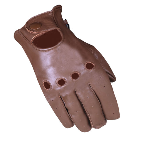 Men's Anthem Ventilated Genuine Soft Leather Driving Unlined Brown Gloves