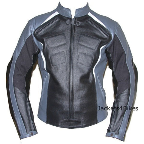 WOMENS LADIES LEATHER ARMOR JACKET MOTORCYCLE SILVER