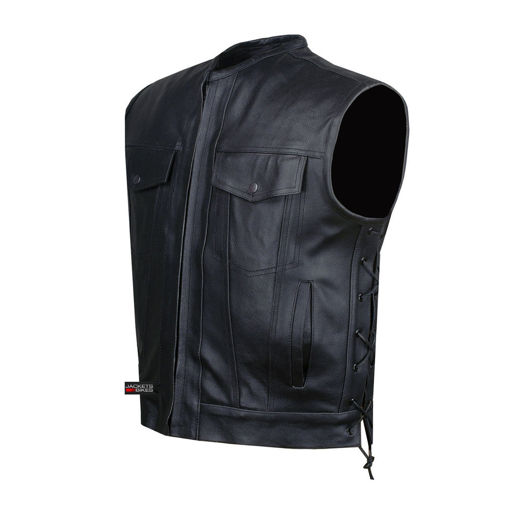 Insulated leather motorcycle gloves - Soa Motorcycle Sons Of Anarchy Armor Leather Open Collar Leather Biker Vest