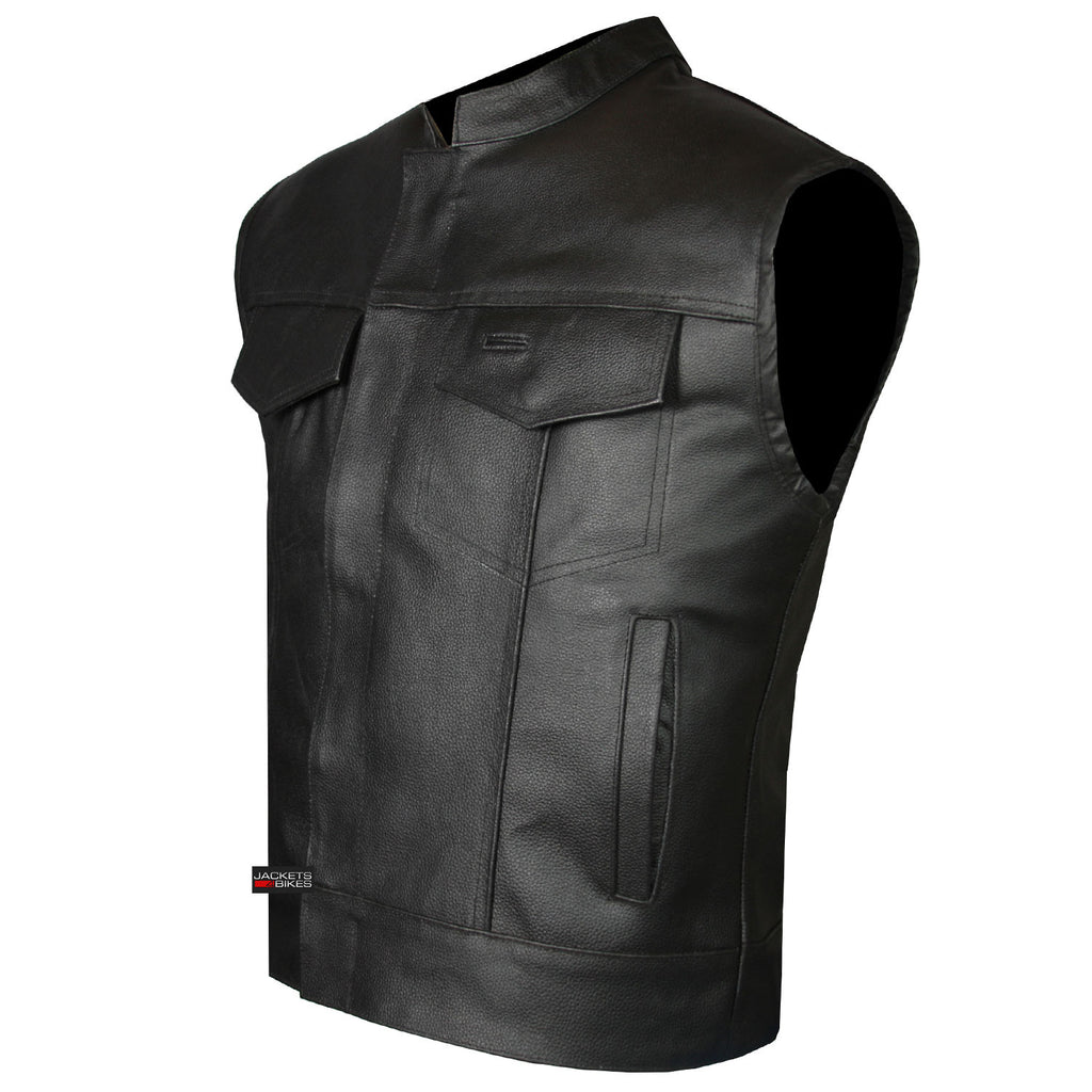 Motorcycle gloves bangalore - Soa Men S Leather Vest Anarchy Motorcycle Biker Club Concealed Carry Outlaws