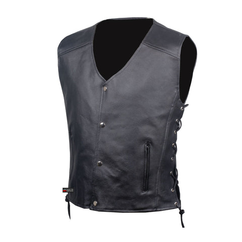 Men's SOA Motorcycle Clothing Biker Leather Vest Club Concealed Carry