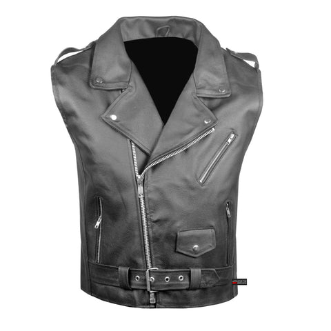 Men's Classic Leather Motorcycle Biker Concealed Carry Vintage Vest Black