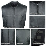 Mens Biker Swat Tactical Style Motorcycle Leather Vest with Side Adjustment