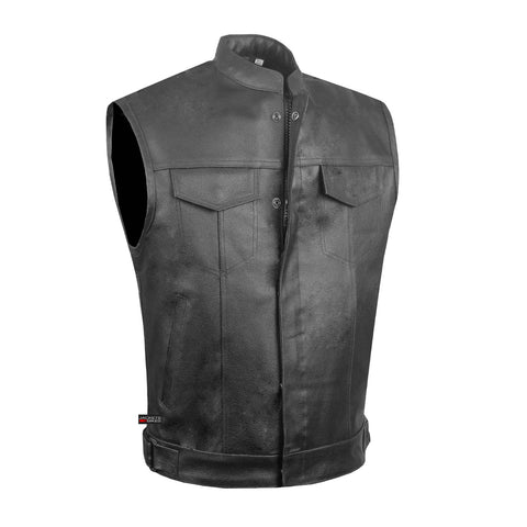 Men's ARMOR Leather SOA Anarchy Motorcycle Biker Club Concealed Carry Vest