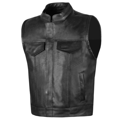 Men SOA Genuine Milled Cowhide Leather Motorcycle Club Gun Pocket Biker Vest