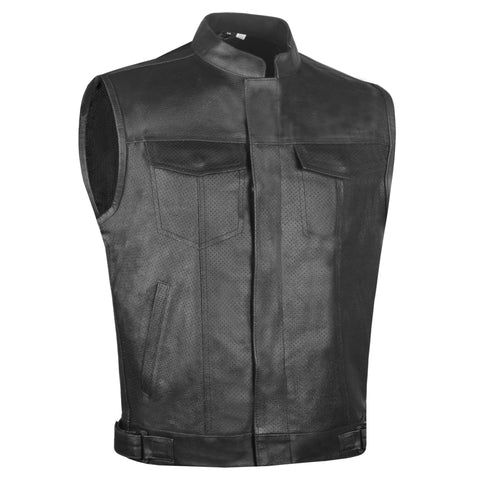 Men's Armor SOA Perforated Leather Motorcycle Breathable Biker Club Vest