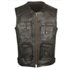 Men's Assault Motorcycle Leather Gun Pocket Biker Club Cruiser Armor Vest