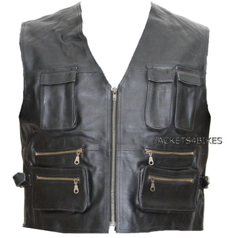 NEW BIKER MOTORCYCLE LEATHER VEST w/ POCKETS BLACK