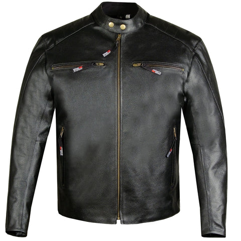 Men's Defender Genuine Leather Classic Motorcycle Street Biker Jacket