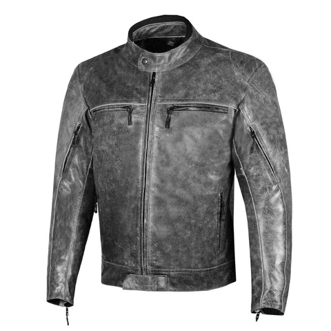 Men Veteran Buffalo Leather Vintage Distress Cruiser Motorcycle Biker Jacket