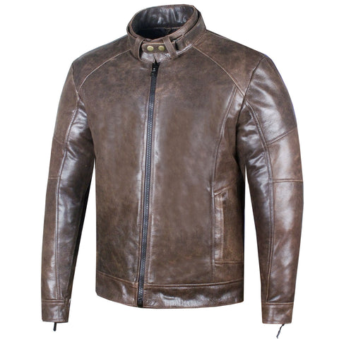 Men's Genuine Premium Leather Vintage Distress Motorcycle Biker Jacket