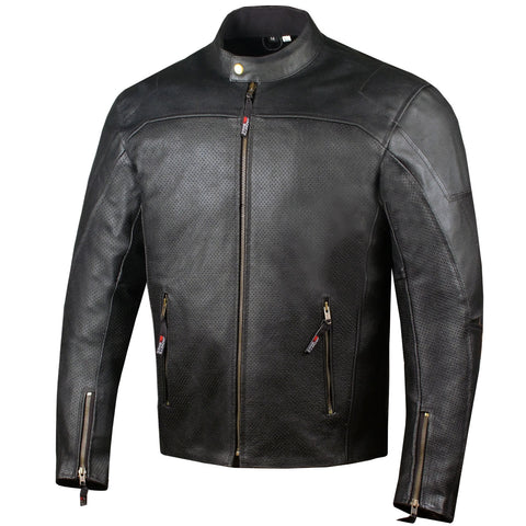 Men's Airflow Perforated Leather Protected Motorcycle CE Armor Biker Jacket