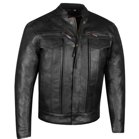 Men's Commuter Premium Natural Buffalo Armor Motorcycle Leather Biker Jacket