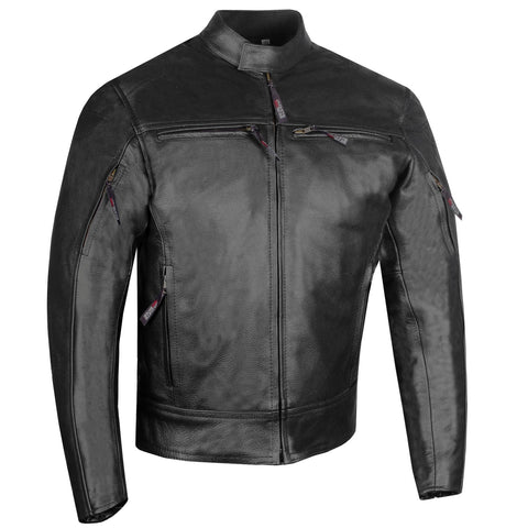 Men's Raider Premium Natural Buffalo Leather Motorcycle Armor Biker Jacket