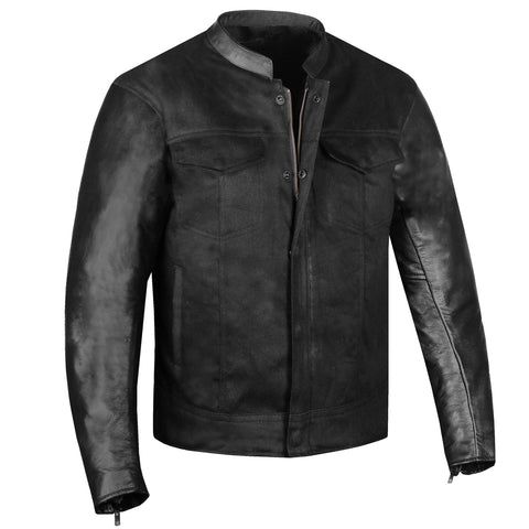 Men's Hybrid Leather & Denim Armor Jacket Motorcycle Club Cruiser Concealed