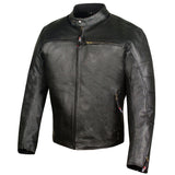 Men's Raider Ventilated Motorcycle Leather Street Cruiser Armor Biker Jacket