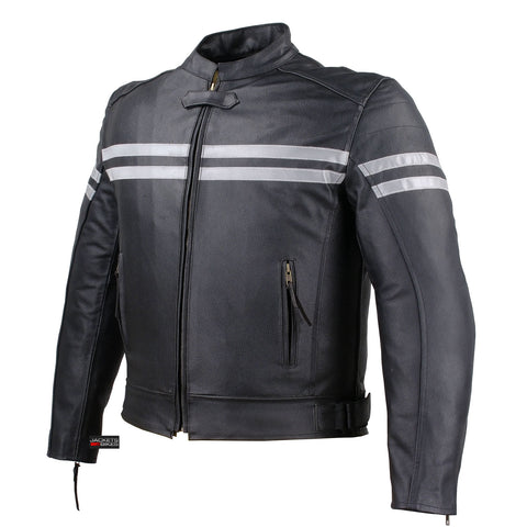 TRACK MOTORCYCLE BIKER ARMOR LEATHER JACKET BLACK