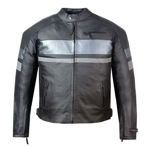 SPARK MOTORCYCLE BIKER LEATHER JACKET with ARMOR BLACK