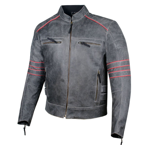 Men's Brotherhood Classic Leather Motorcycle Distressed Armor Biker Jacket