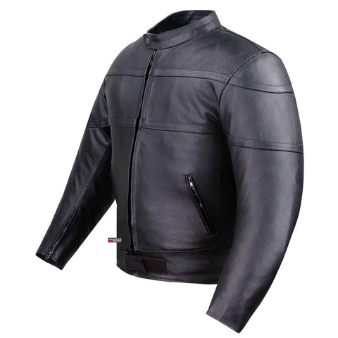 Men's Classic Band Armor Motorcycle Leather Jacket Black Genuine Cowhide