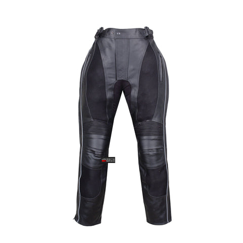 NEW MENS MOTORCYCLE MESH LEATHER ARMOR PANTS BLACK