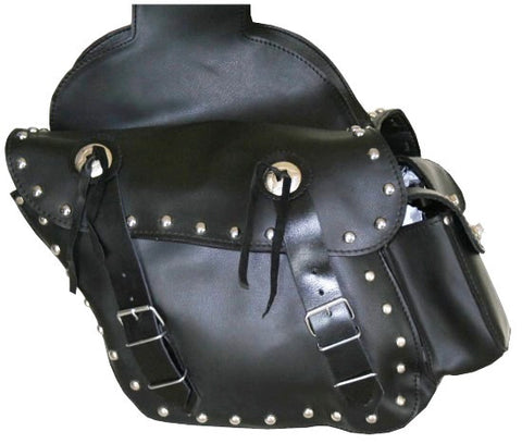 NEW BLACK MOTORCYCLE LEATHER SADDLEBAGS SADDLE BAG BAGS