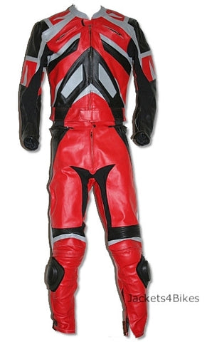 NEW 2PC MOTORCYCLE LEATHER RACING RED SUIT w/ ARMOR