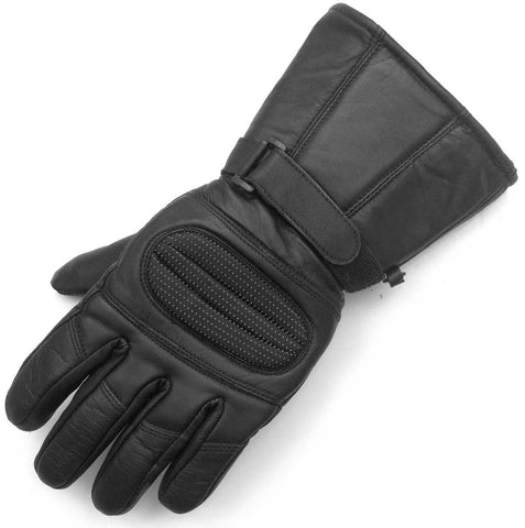 LEATHER GLOVES GAUNTLET for BIKER MOTORCYCLE SCOOTER HEAVY DUTY WINTER BLACK