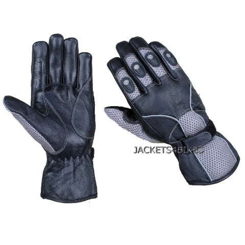 NEW BIKER LEATHER MESH MOTORCYCLE BIKE GLOVES GRAY