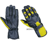 NEW BIKER LEATHER MESH MOTORCYCLE BIKE GLOVES YELLOW