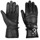 NEW BIKER CONCHO GUNTLET THINSULATE LEATHER RIVETS GLOVES BLACK