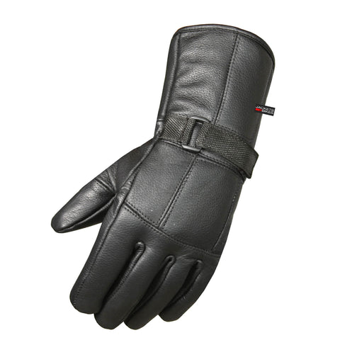Premium Cowhide Leather Motorcycle Gloves Biker Riding Cruising Winter Black