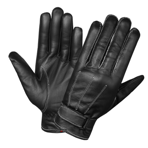 Leather Driving Gloves Soft Aniline Genuine Cow Hide Black Lined