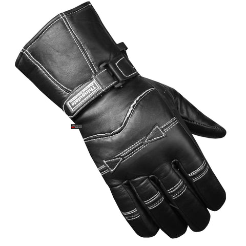 New Premium Sheep Leather Men Gauntlet Gloves Motorcycle Biker ATV Black