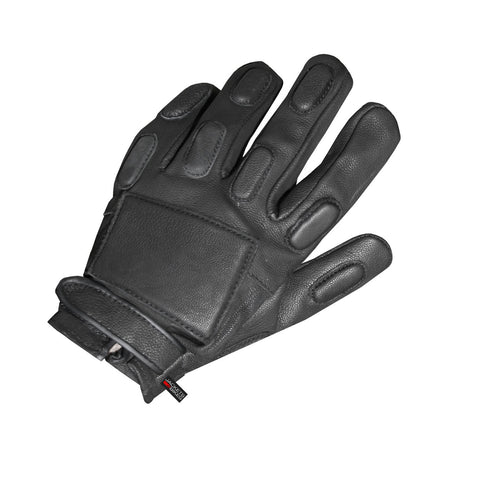 POLICE BIKER SHORT MOTORCYCLE LEATHER GLOVES BLACK