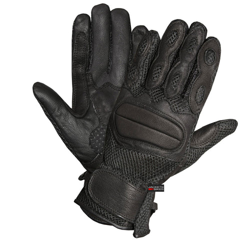 LEATHER MESH ON-ROAD GLOVES MOTORCYCLE BIKE STREET GLOVE BLACK