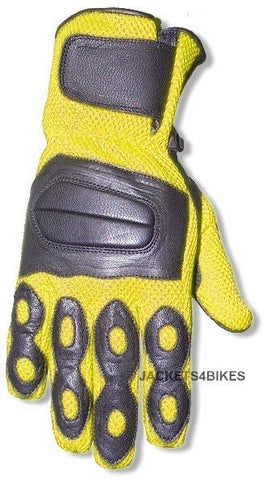 NEW LEATHER MESH GLOVES MOTORCYCLE BIKE GLOVE YELLOW
