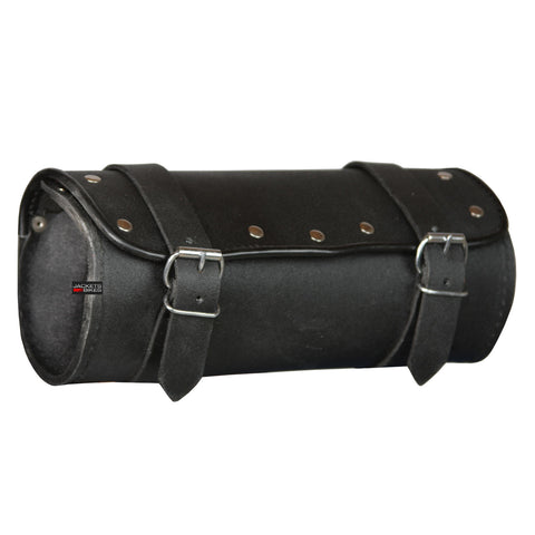 NEW LEATHER MOTORCYCLE BIKE GEAR TOOL BAG FORK BAGS