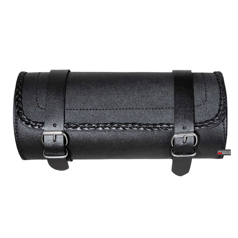 Leather Motorcycle Tool Bag Fork Handlebar Buckle BRAIDED Bags Black