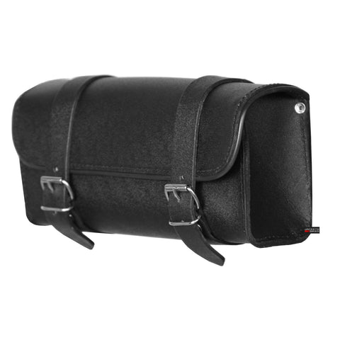 NEW BLACK LEATHER BIKER MOTORCYCLE GEAR TOOL BAG FORK BAGS