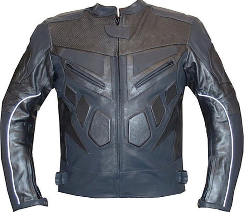 MOTORCYCLE SPEED RACING ARMOR LEATHER JACKET Gray GM